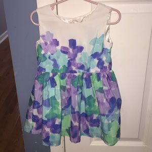 purple, green, and blue watercolor dress